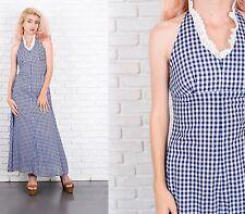 Vintage 70s Navy Blue Gingham Maxi Dress Plaid Backless Lace XXS