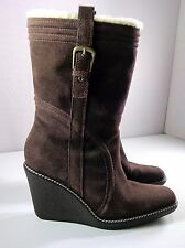 Cole Haan Women's Mid-Calf Wedge Boots Brown Suede Waterproof Pull On Size 7.5 B