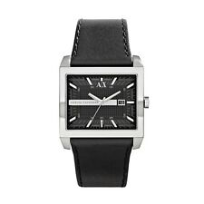 ARMANI EXCHANGE MEN'S BLACK IP LEATHER  LUXURY TOP WATCH AX2203