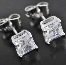 6 Ct. Princess Cut Created Diamond Stud Earrings 14K White Gold Square Solitaire