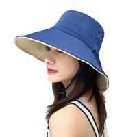 Women Bucket Hat Reversible Sun Cap UV Protection Detachable Cord Blue