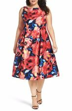 NEW! Adrianna Papell Multi Color Floral Fit & Flare Party Dress Size 14W $219