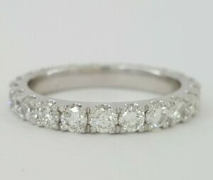 1.54 ct Platinum Round Cut Diamond Full Circle Eternity Wedding Band / Ring