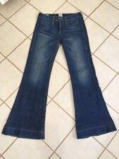 True Religion Gemma Bugsy Gold Dk Wash Mid Rise Bucket Pocket Flare Leg Jeans 27