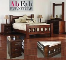 COBAR QUEEN BED FRAME SOLID TIMBER IN RUSTIC WALNUT - BED FRAME ONLY