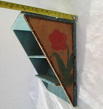 Antique primitive WOODEN  handmade painted  wall display shelf  old blue paint