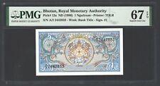 Bhutan One Ngultrum ND(1986) P12a Uncirculated Grade 67