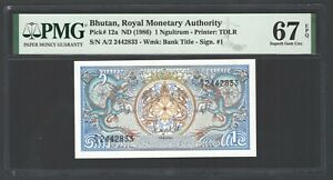 Bhutan One Ngultrum ND(1986) P12a Uncirculated Grade 67