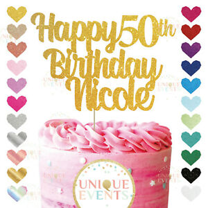 Happy 50th Birthday Cake Topper Custom Name Glitter Any Age Name Fifty 40 50 60