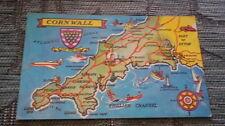 Cornwall - Map   Vintage Postcard (unused)