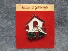 & Bird House Glitter Enamel Finish Season Greetings Christmas Lapel Pin 2 Doves