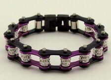 Ladies Stainless Steel W Double Crystals Biker Chain Bracelet Black-Purple