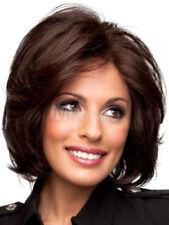 100% Cheveux Naturels Mode Femmes Court Raide Brun foncé Perruques Parrucca