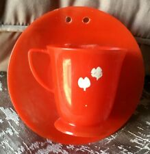 Vintage 1950's Red Plastic Cup And Saucer Wall Pocket Vase U.S.A. Retro
