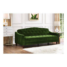 Sofa Bed Sleeper Tufted Green Velour Convertible Couch Day Guest Futon Hide a