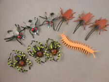 Lot 10 Vtg Insect Halloween Decoration Fly Spider Centipede Cockroach Figures