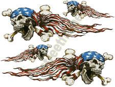 AMERICAN USA FLAG SKULL DECAL STICKER EMBLEM GRAPHIC HELMET SKATEBOARD SNOWBOARD