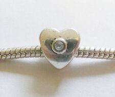 1 Metal Dark Antique Silver Heart Charm Bead - Fit Charm Bracelet