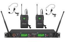 GTD Audio 2x800 Ch UHF Wireless Lavaliere Lapel Headset Microphone System 733L