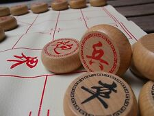 """Xiangqi, Chinese chess 1.6"""" fine carved wooden chess pieces"""