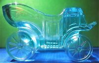 Horseless Carriage Ashtray LG Wright Vintage Blue Pressed Glass Mid Century Mod