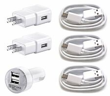 3x USB 2x Wall Charger 1x dual car for LG STYLO 3 PLUS/K20 PLUS/ARISTO/K7/K10.