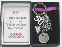 Keyring Sixpence Keepsake Gift Birthday Female 18th 21st 30th 40th 50th 60th etc