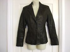 FITS SIZE 12 LEATHER MADE IN ITALY WOMENS COAT JACKET Evening Winter Ladies Work