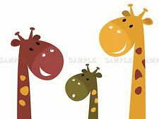 PAINTING CARTOON ANIMALS GIRAFFES CHILDREN KIDS VECTOR POSTER PRINT BMP10177