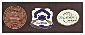 Curling pins:Manitoba CAsn OGradyTrophy84-5; 20thManitTeachersBonspiel;Belvedere