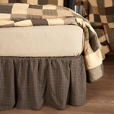 Kettle Grove Primitive Bed Skirt Dust Ruffle King Queen Twin Black Cotton Plaid