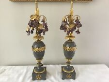 Vintage French Empire Gustavian Bronze Czech Glass Fruit Lamp Pair Gray Amethyst