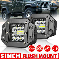 "2x 5"" Flush Mount 300W LED Work Light Bar Rear Bumper Reverse 4-Row Spot Driving"