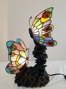"""Tiffany Style Stained Glass Double Butterfly Table Lamp 17"""" Tall Rose Bush Base"""