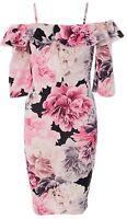 Womens Ladies Floral Frill Strappy Cami Mini Bodycon Dress Short Sleeve Peplum