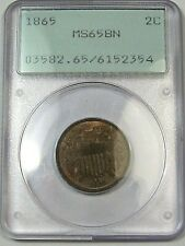 BU GEM BN 1865 US Two Cent Piece Coin. PCGS MS65 BN (Old Green Holder).  #1