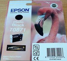 Genuine Epson T0871 TO871 PHOTO NERO Cartuccia ORIGINALE Inchiostro OEM FLAMINGO R1900