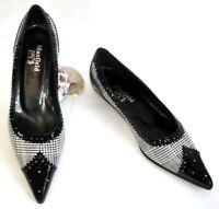MANFIELD Chaussures ballerines bouts pointus cuir noir et blanc tweed 37.5 NEUF
