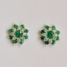 NATURAL EMERALD EARRINGS TOP COLOUR GENUINE DIAMONDS 9K 375 WHITE GOLD STUDS NEW