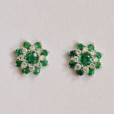 Natural Emerald Earrings Top Colour Genuine Diamonds 9k 375 White Gold Studs