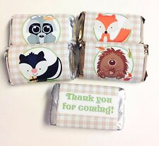 50 BABY WOODLAND ANIMALS MINI CANDY BAR WRAPPERS PARTY FAVORS