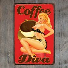 Coffee Diva Vintage Tin Signs Metal Plate Cafe Decor Art Wall Poster