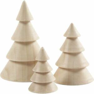 3er Set Tannenbaum Deko Pappelholz  Weihnachtsbaum Weihnachtsdeko