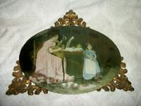 VICTORIAN REVERSE GLASS MUSIC MOTHER DAUGHTER PHOTO TABLE FRAME TRAY BRASS