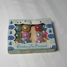Shiny Brite Mesh Vintage Feather Tree Ornaments Box Tiny Netted Glass Balls MINT