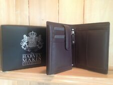 Harvey Makin Genuine Brown Soft Leather Mens Wallet Tri Fold 18 compartments