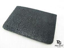 PELGIO Genuine Polish Stingray Skin Leather Slim Credit Card Holder Wallet Black