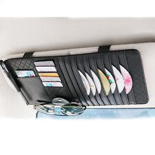 Vehicle Sun Visor Sunshade CD Card Clip Holder Organizer Pocket Storage - Black