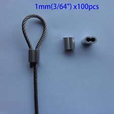 1mm ALUMINUM CABLE DOUBLE FERRULES CABLE STOPS SNARE WIRE SWAGE TRAP 100 PACK