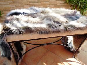Genuine Raccoon Fur Natural Color Warm Home Hotel Floor Chair Large Carpet